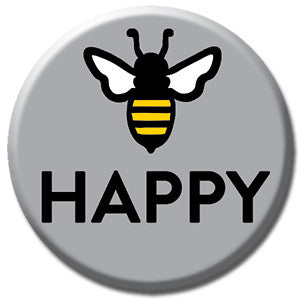 "Bee Happy Grey 1"" Button by Seltzer Goods"