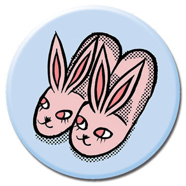 "Bunny Slippers 1.25"" Button by Tuesday Bassen"