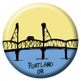 Hawthorne Bridge 1 inch Button