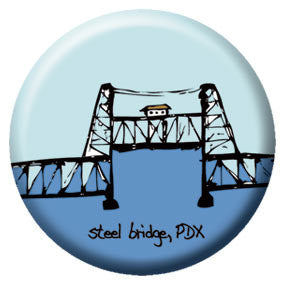 Steel Bridge 1 inch Button