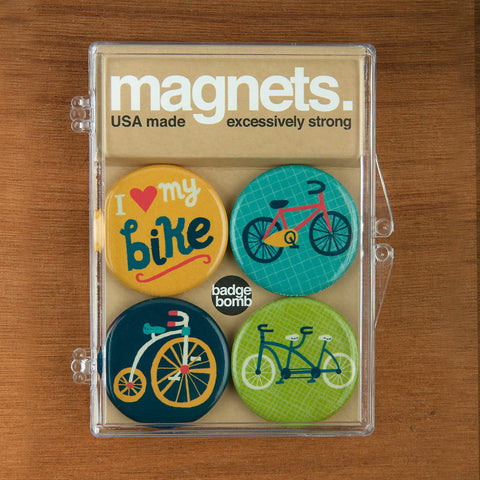 Bike magnet packs by Allison Cole from Badge Bomb wholesale.