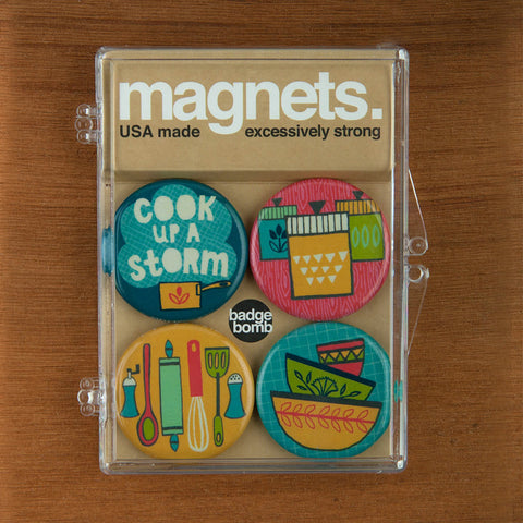 Kitchen magnet packs by Allison Cole from Badge Bomb wholesale.