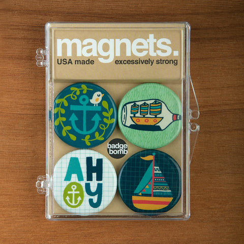 Nautical magnet packs by Allison Cole from Badge Bomb wholesale.