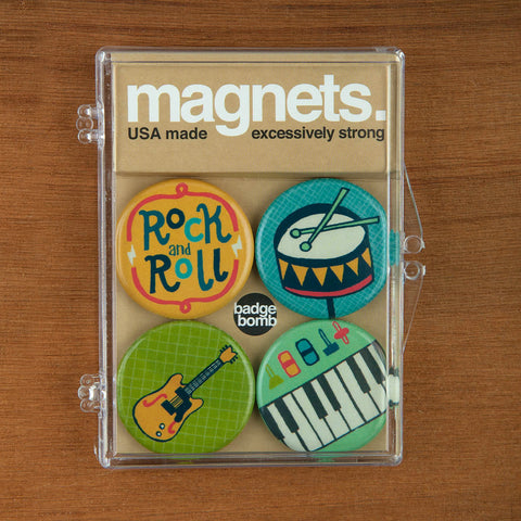 Rock and Roll magnet packs by Allison Cole from Badge Bomb wholesale.