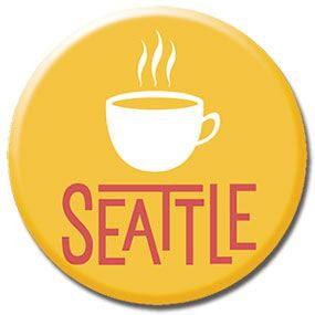 "Seattle Coffee 1"" button by Badge Bomb"