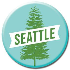 "Seattle Tree 1"" button by Badge Bomb"