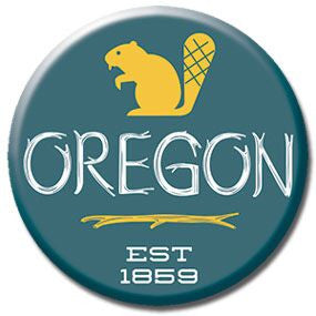 "Oregon Beaver 1"" button by Badge Bomb"