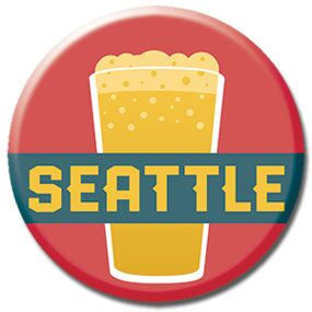 "Seattle Pint 1"" button by Badge Bomb"