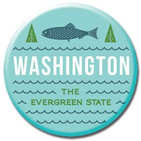 "Aqua Evergreen State Washington 1"" button by Badge Bomb"