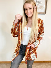 Red plaid cardigan with a hood - Wesley's