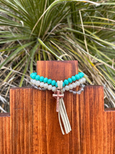 Copper Cross Stretch Bracelet