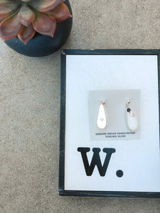 White Buffalo Turquoise Teardrop Earrings