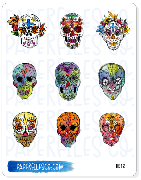 HE12 Colorful Skulls