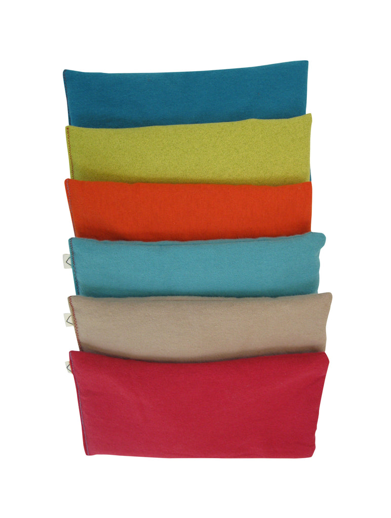 Peacegoods Pack of (6) Unscented Eye Pillows, cotton flannel, flax seed, soft, soothing, natural, red, green, orange, beige,  yoga, massage, spa, sleep, meditation, travel, made usa