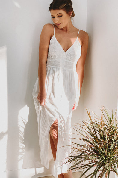 Sunset Lover Lace Cream Maxi Dress