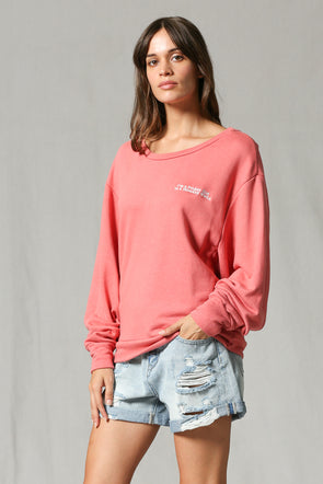 Friday Girl Pink Embroidered Pullover