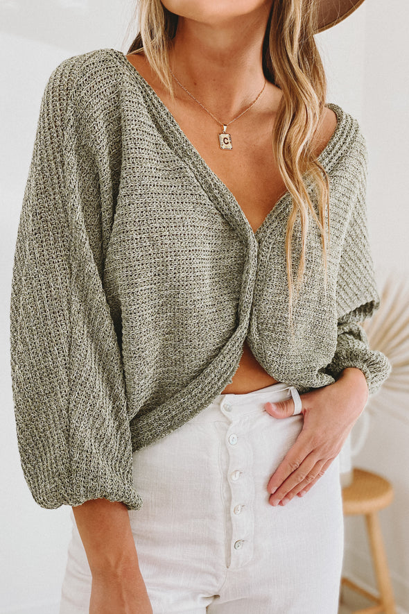 Olive Slouch Cardigan