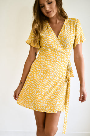 Kate Yellow Floral Wrap Dress