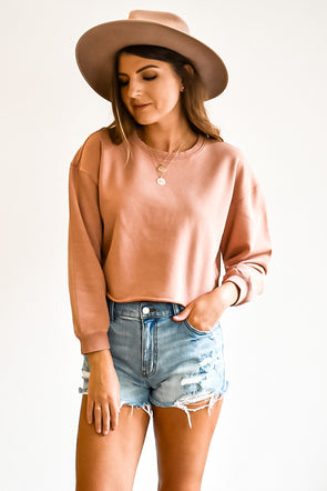Gentle Fawn Ryder Dusty Rose Cropped Sweatshirt
