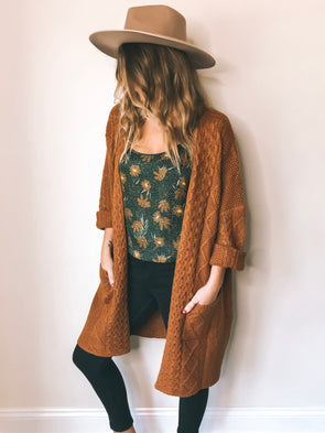 Winslow Oversized Knit Cardigan – Pumpkin Spice