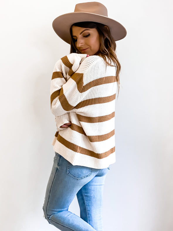 Cheyenne Neutral Striped Sweater