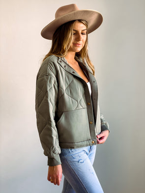 Gentle Fawn Quinn Olive Bomber Jacket