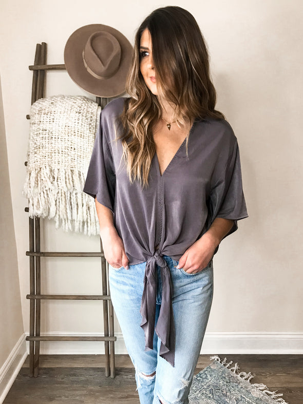 Suki Front Tie Blouse - Charcoal