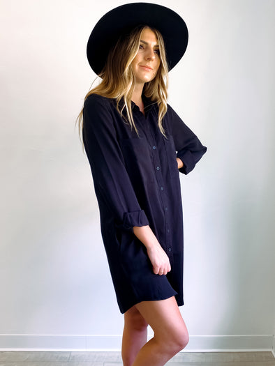 Crescent Black Shirt Dress