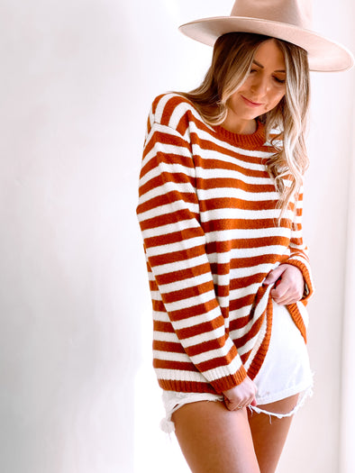 Cali Stripe Crewneck Sweater