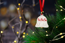 Load image into Gallery viewer, Rachel Webb Ceramics porcelain Christmas ornament decoration reindeer bell with red ribbon