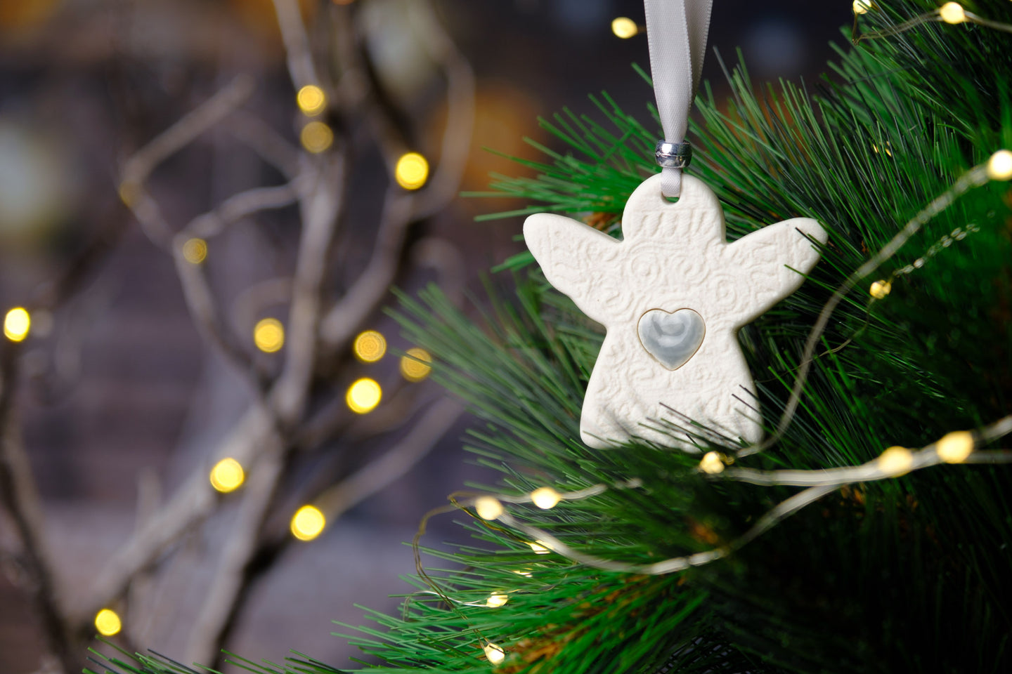 Rachel Webb Ceramics porcelain Christmas ornament decoration grey silver heart angel with grey silver ribbon