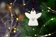 Load image into Gallery viewer, Rachel Webb Ceramics porcelain Christmas ornament decoration grey silver heart angel with aubergine purple ribbon