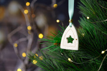 Load image into Gallery viewer, Rachel Webb Ceramics porcelain Christmas ornament decoration elf door with mint ribbon