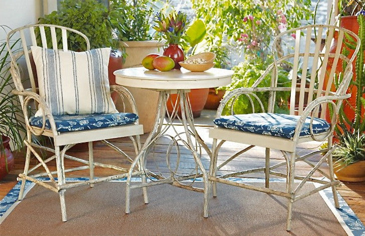 Faux Bois Aluminum Table for Two - Dining Set