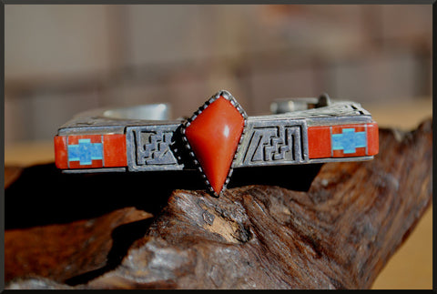 Navajo - Abraham Begay - Inlay Silver Cuff Bracelet - SOLD
