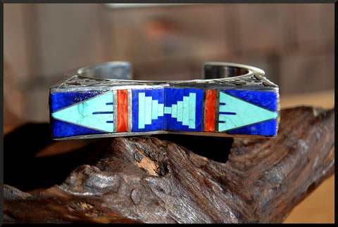 Navajo - Abraham Begay -  Sterling Silver and Stone Inlay Cuff Bracelet