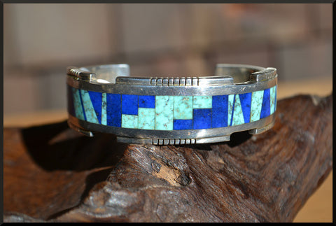 Navajo - Antonio Yazzie -  Sterling Silver and Stone Inlay Cuff Bracelet