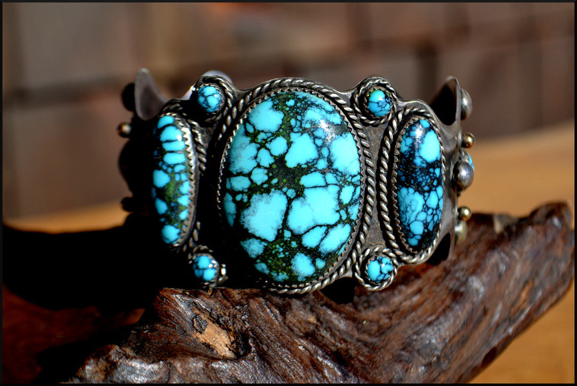 Hal Hiestand Chinese Blue Turquoise, 18K Gold & Sterling Cuff
