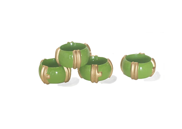 Bamboo in Green Napkin Rings, Set of Four