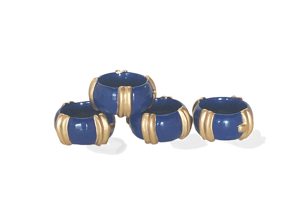 Bamboo in Navy Napkin Rings, Set of Four