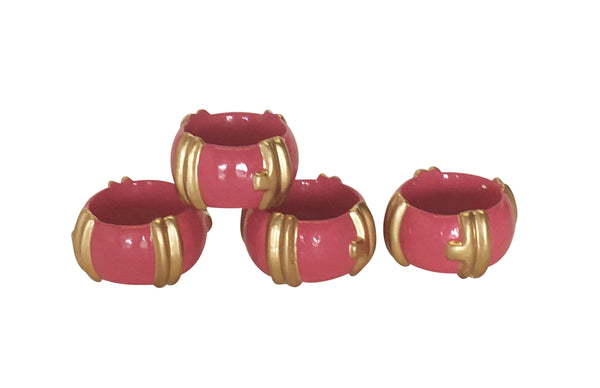 Bamboo in Pink  Napkin Rings, Set of Four
