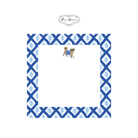 Casa Pug Notepad-Blue