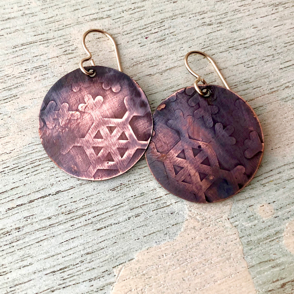 Snowflake Copper Earrings