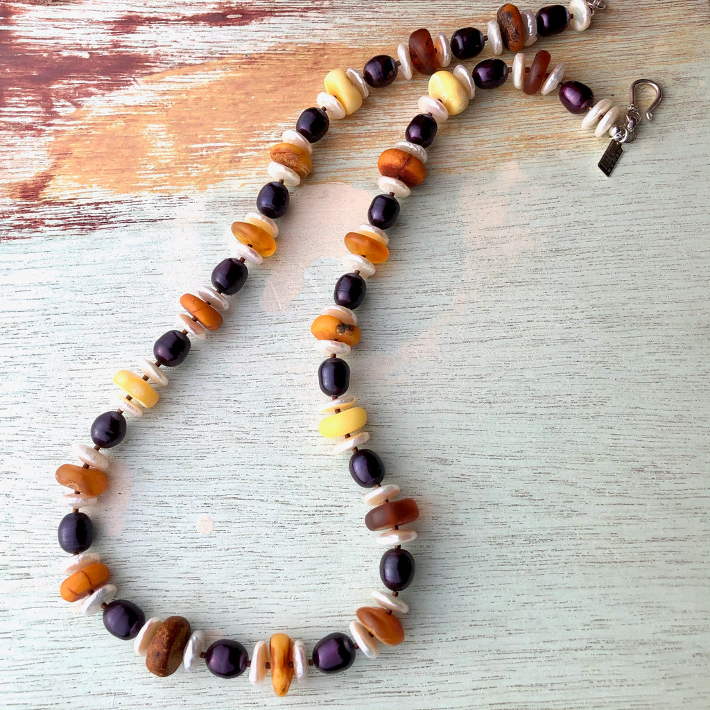 Pearl and Amber Necklace
