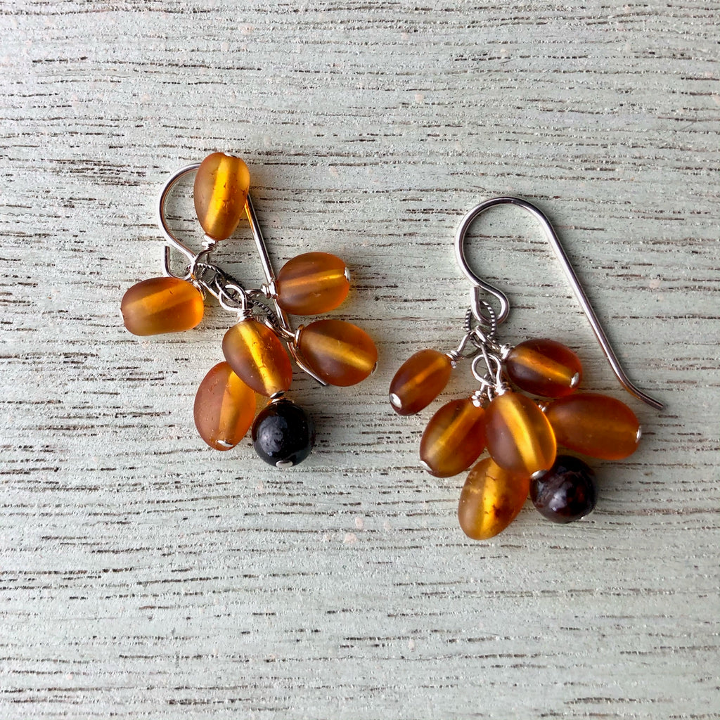 Amber and Garnet Earrings