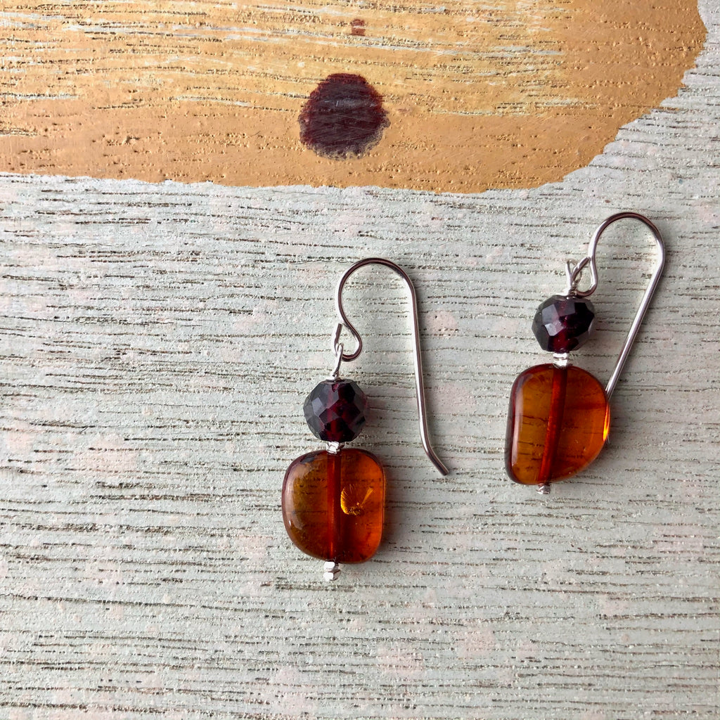 Garnet and Amber Earrings