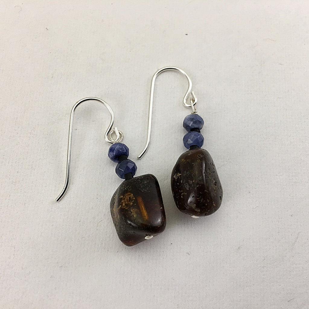 Baltic Amber and Sodalite Earrings