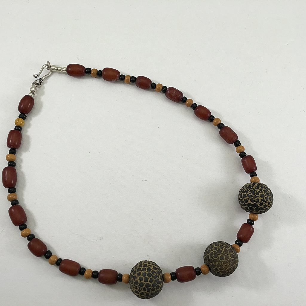 African Clay Bead Trio