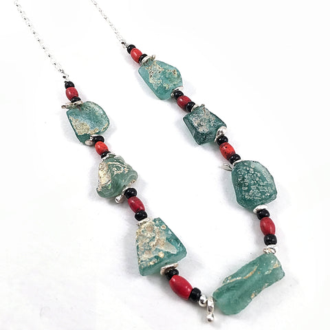Ancient Glass & Sherpa Coral Necklace