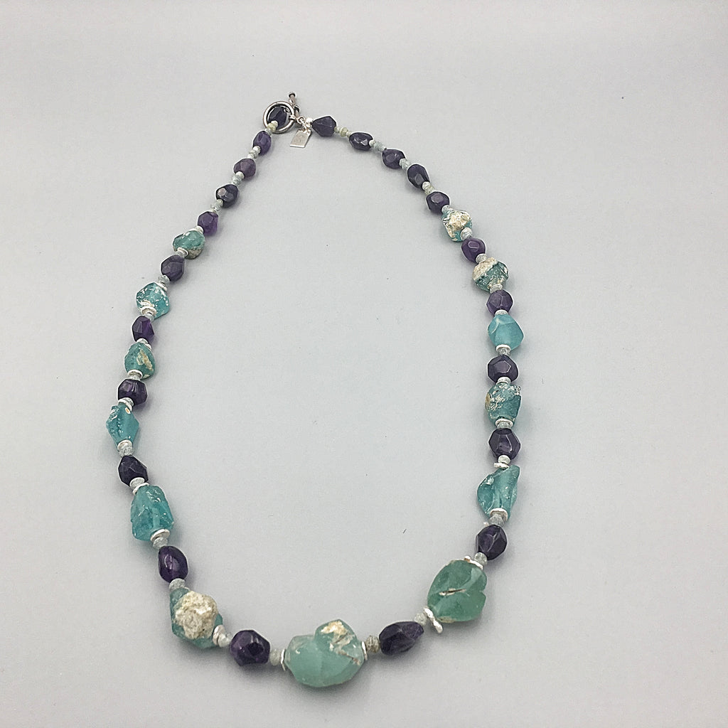 Ancient Glass and Amethyst Necklace